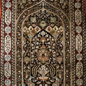 Starożytny jedwabny dywan.